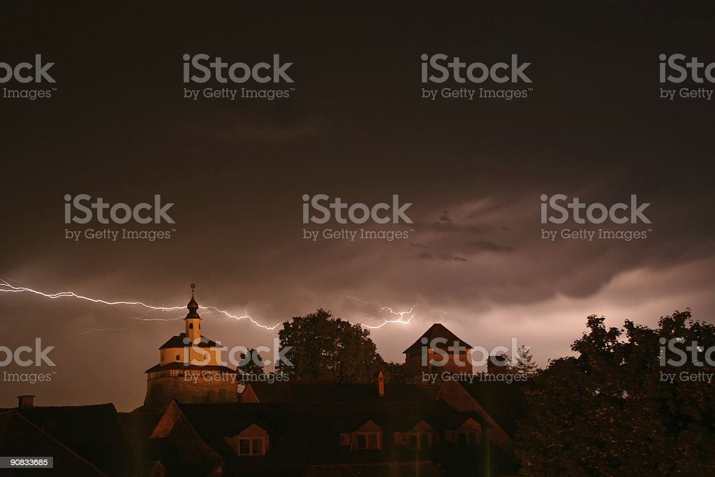 Lighning in a storm stock photo