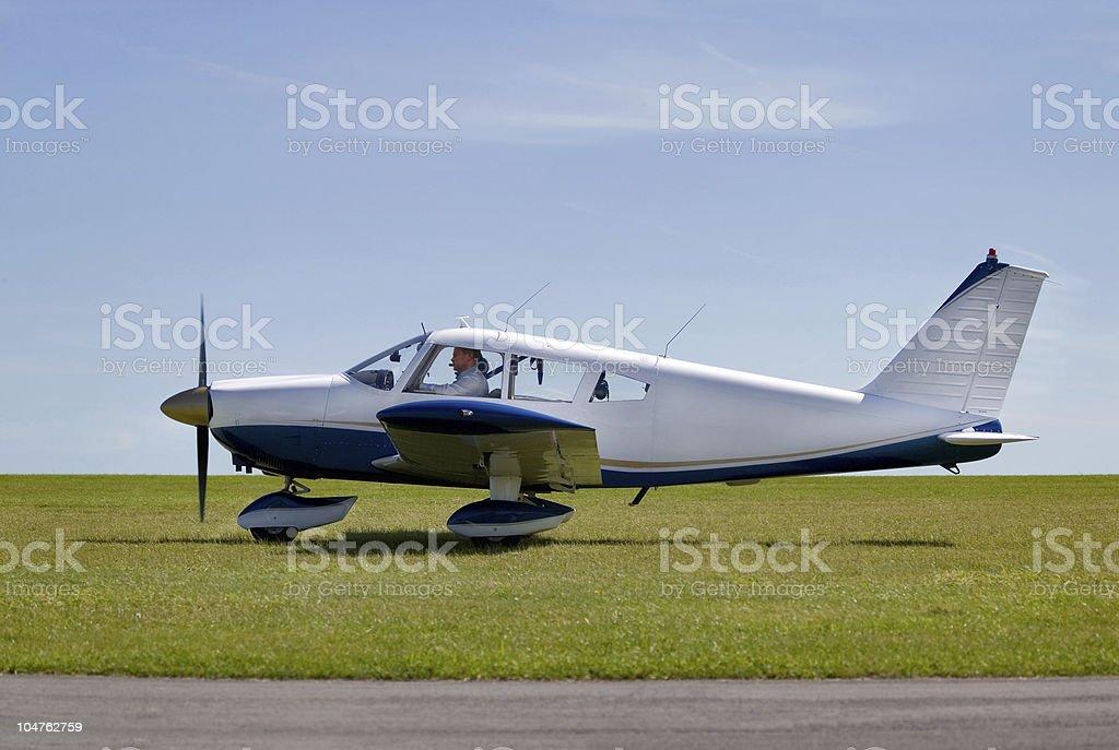 Light aircraft take off stock photo