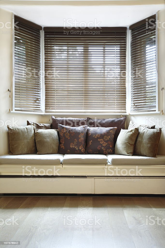 Light and Airy Room with Wooden Blinds stock photo
