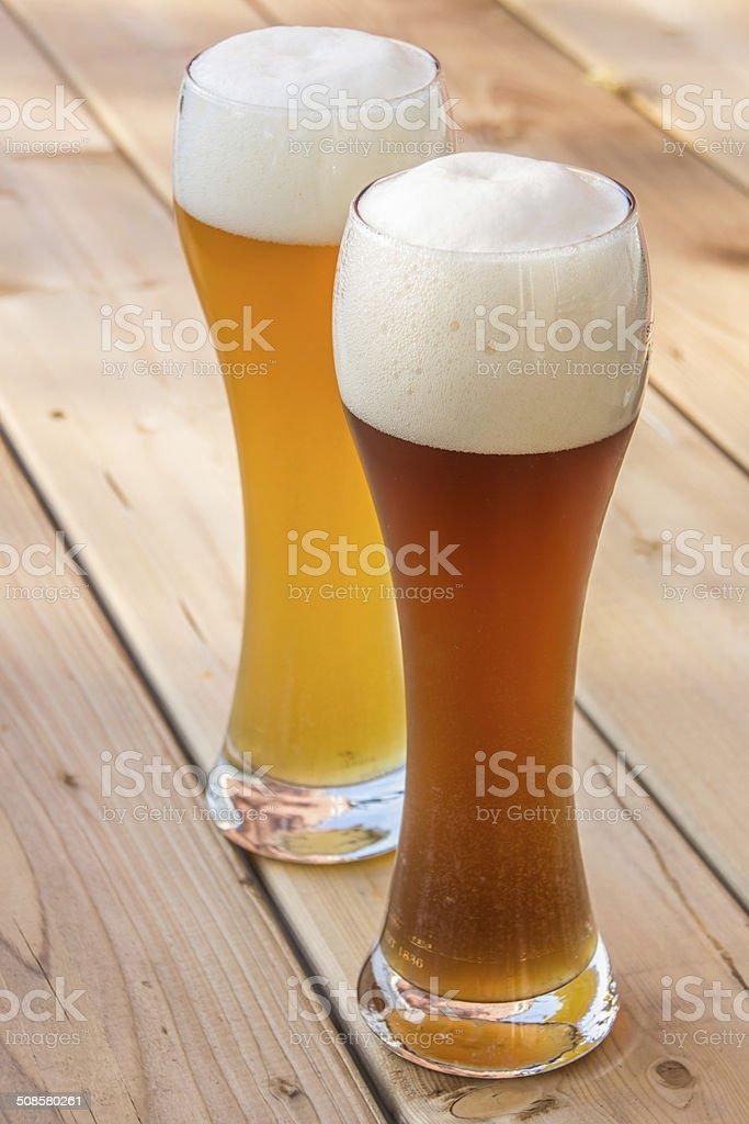 Light and dark German wheat beer stock photo