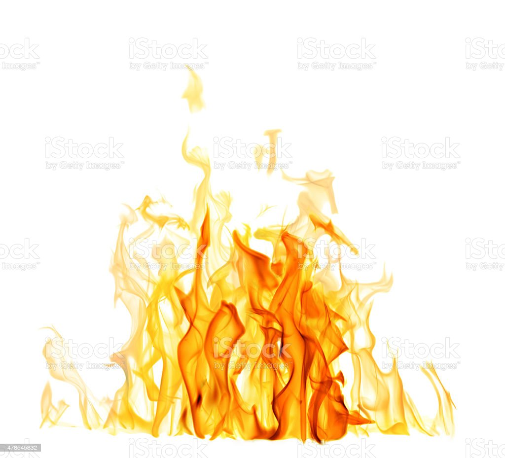 light and dark yellow flame isolated on white stock photo