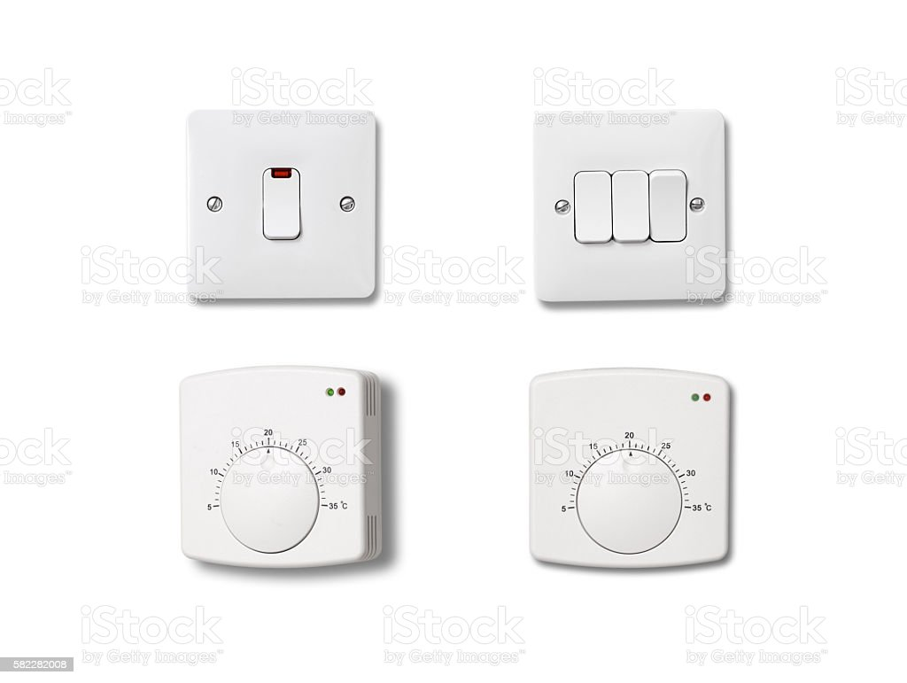 Light and heating controls. stock photo