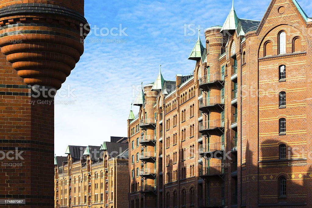Light and shadow in the Speicherstadt stock photo