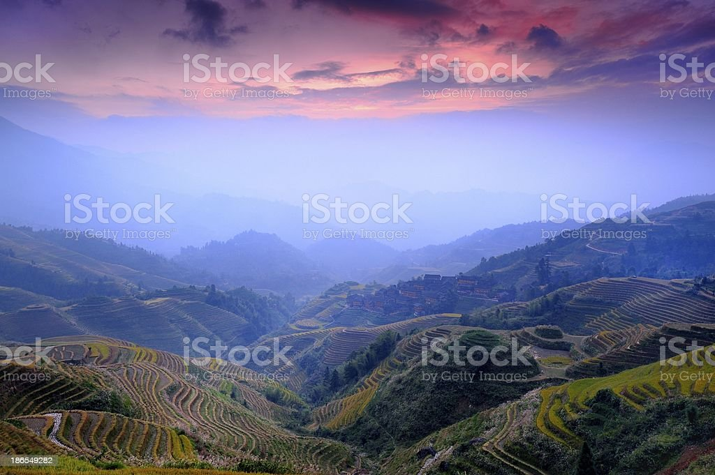 light and shadow of terraced fields in the morning 01 stock photo