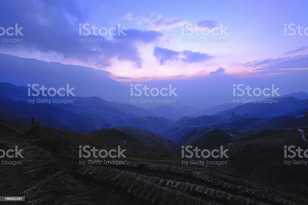 light and shadow of terraced fields in the morning 03 royalty-free stock photo