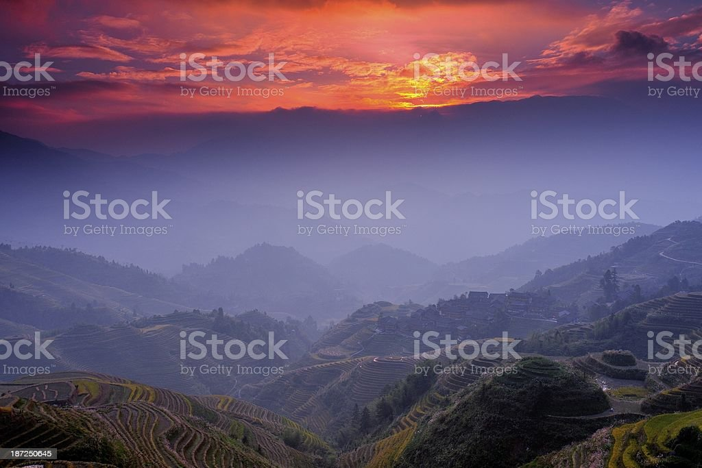 light and shadow of terraced fields in the morning 05 stock photo