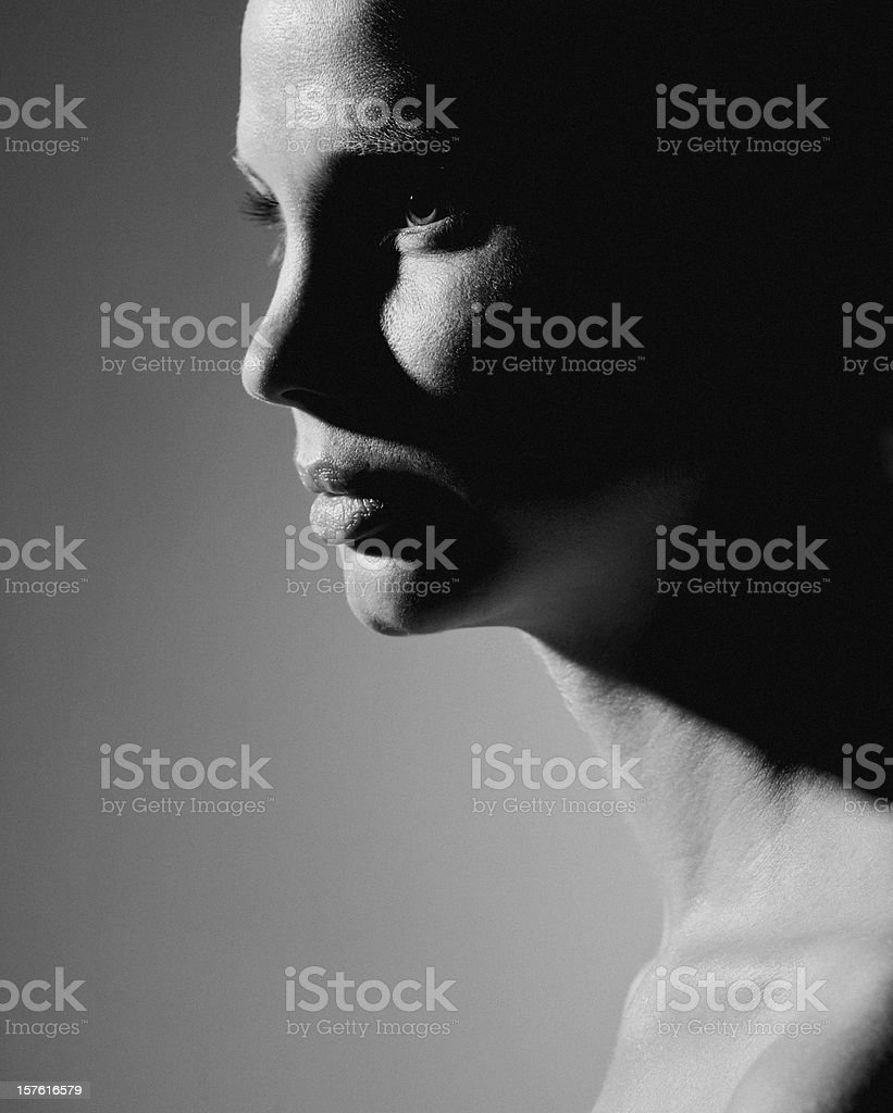 young woman in contrasty lighting