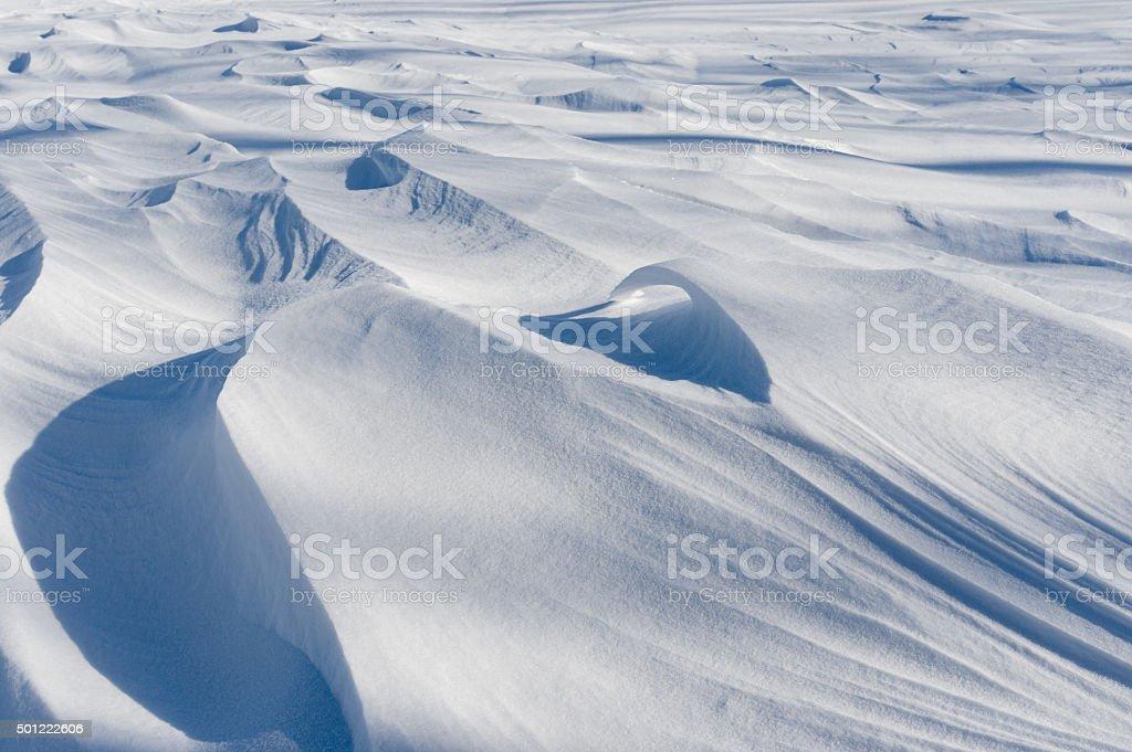 Light and shadows of fresh fallen snow stock photo