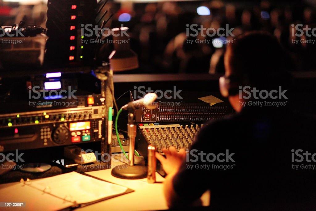 Light and Sound Control Booth stock photo