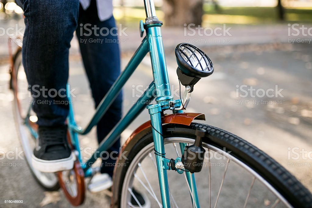 Light and type. Bicycle details stock photo
