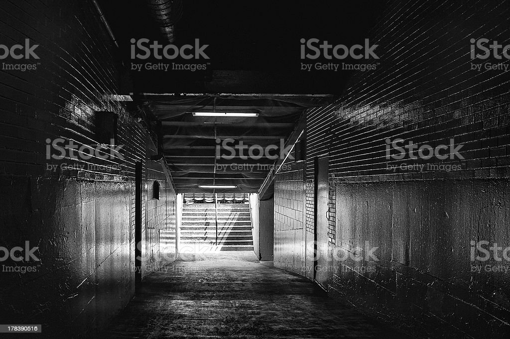Light at End of Dark Tunnel stock photo