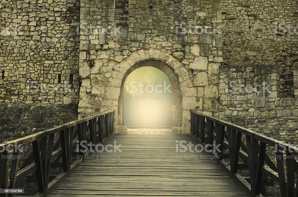Light at end of the tunnel. Hope metaphor. stock photo
