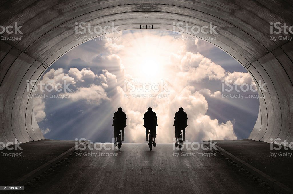 Light at end of the tunnel. stock photo
