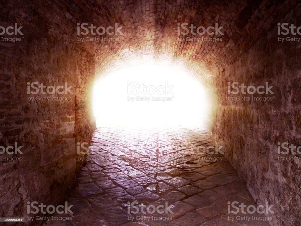 Light at the end of the tunnel stock photo