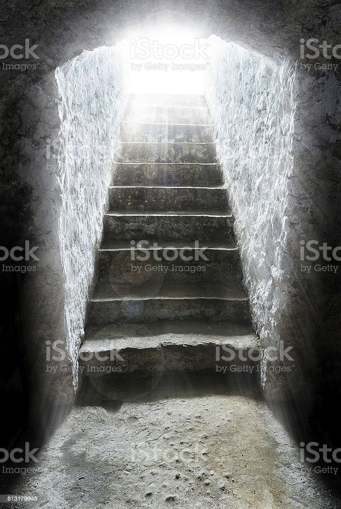 light at the end of the tunnel vector art illustration