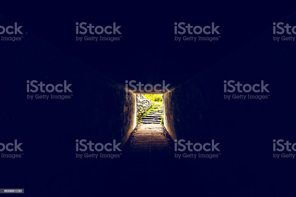 Light at the end of this tunnel stock photo