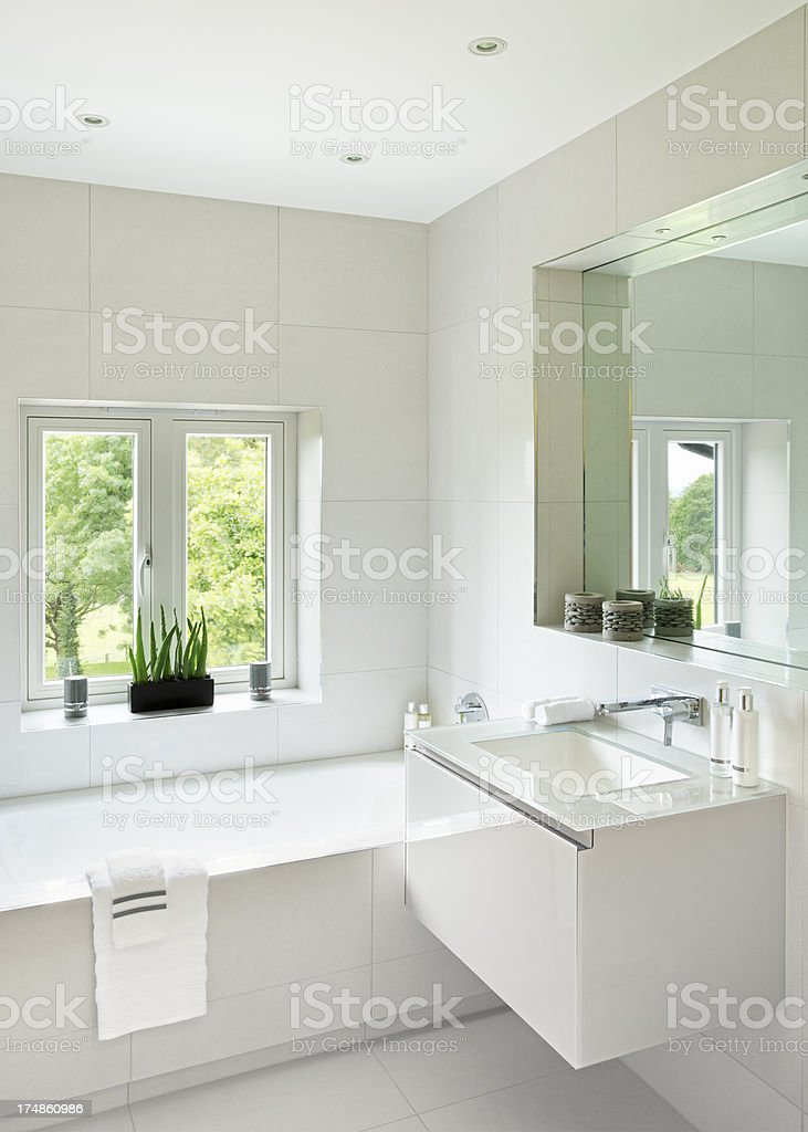 light bathroom with garden views royalty-free stock photo