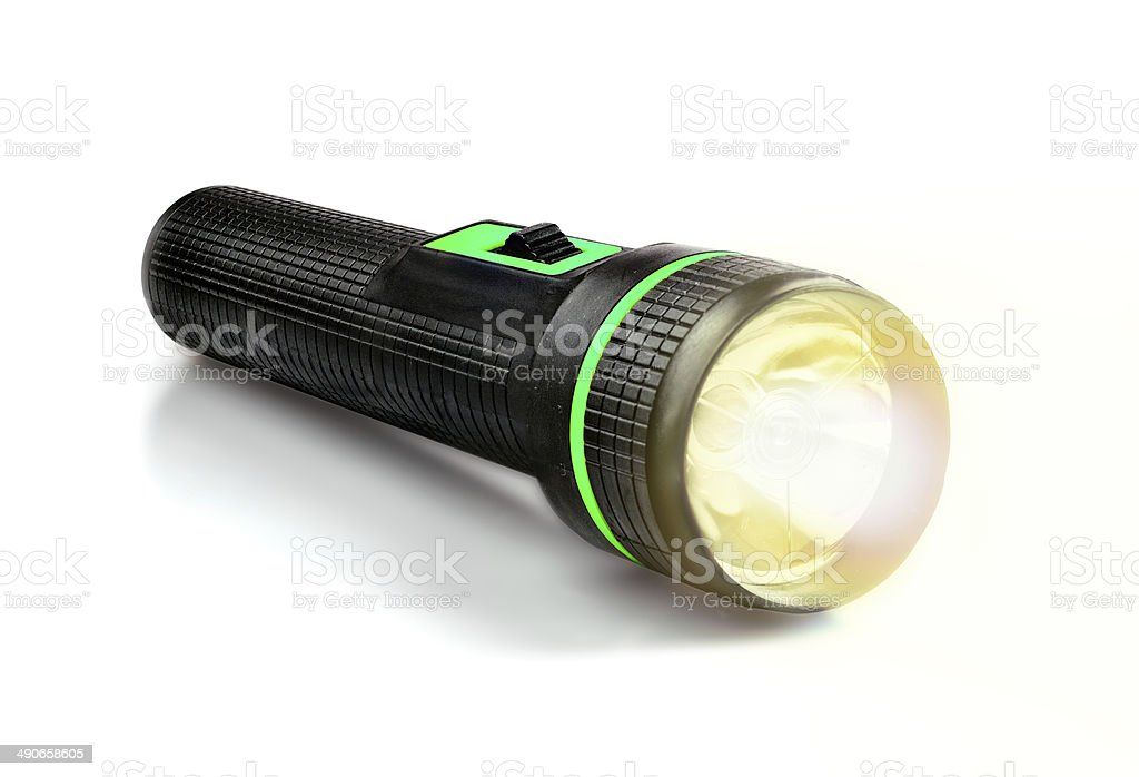 Light Beam from Electric Flashlight stock photo