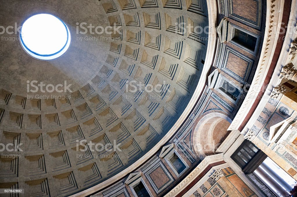 Light beam through dome at the Pantheon in Rome, Italy stock photo