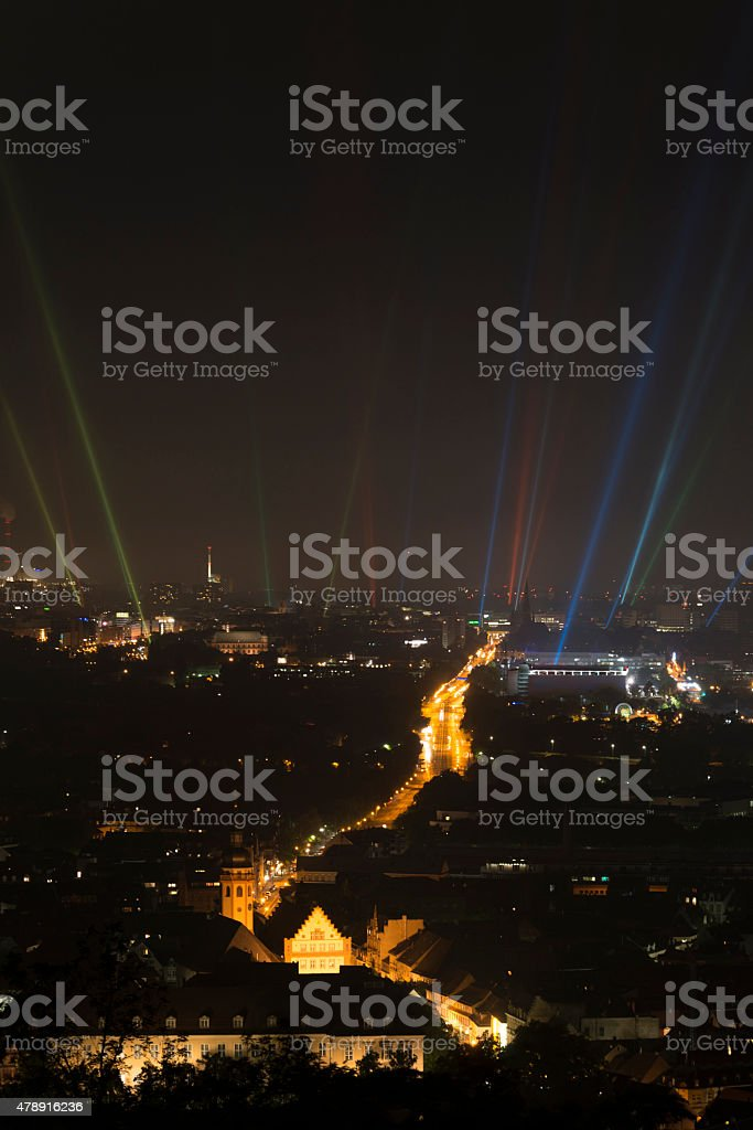 Light beams over Karlsruhe stock photo