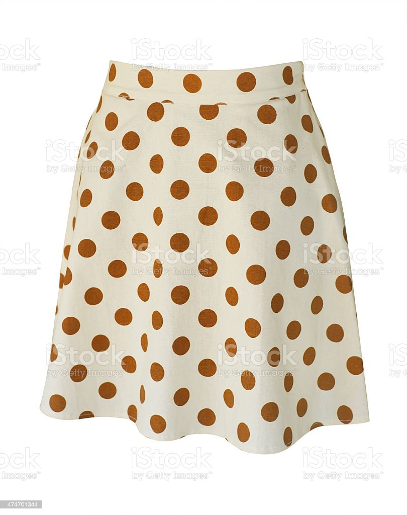 light beige polka dot skirt stock photo
