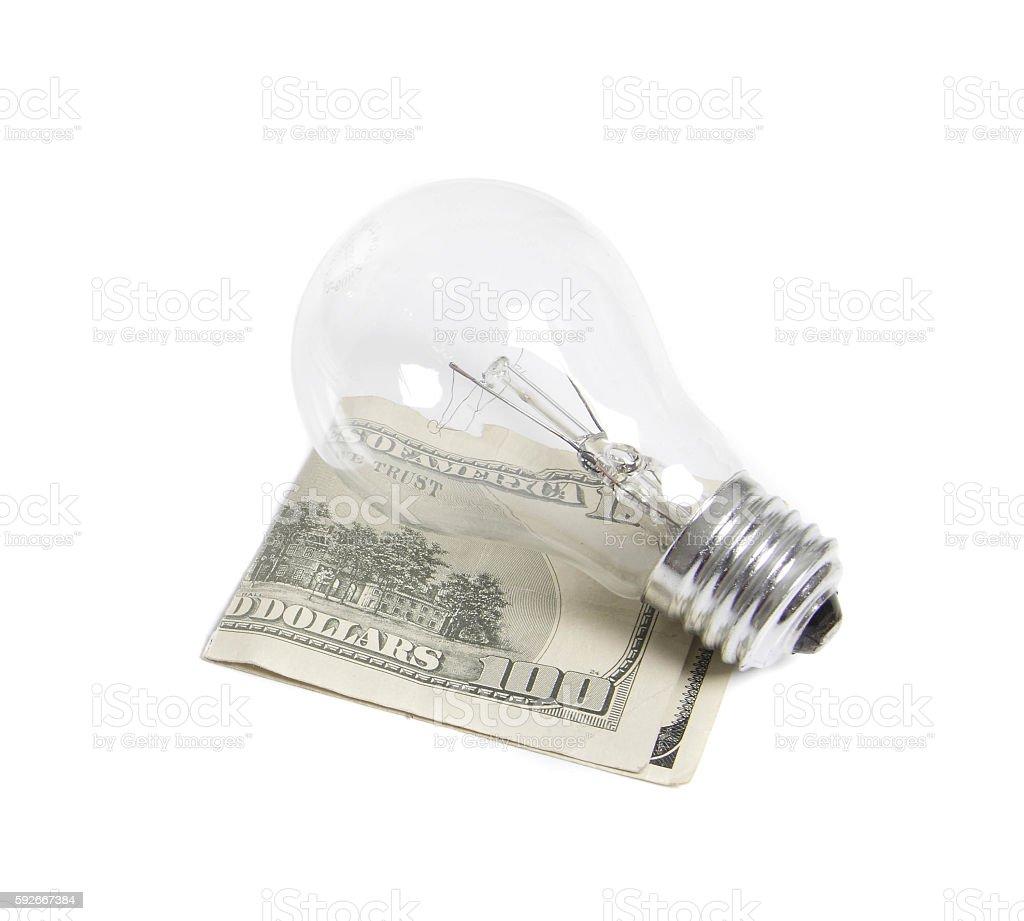 light bilb with dollars stock photo