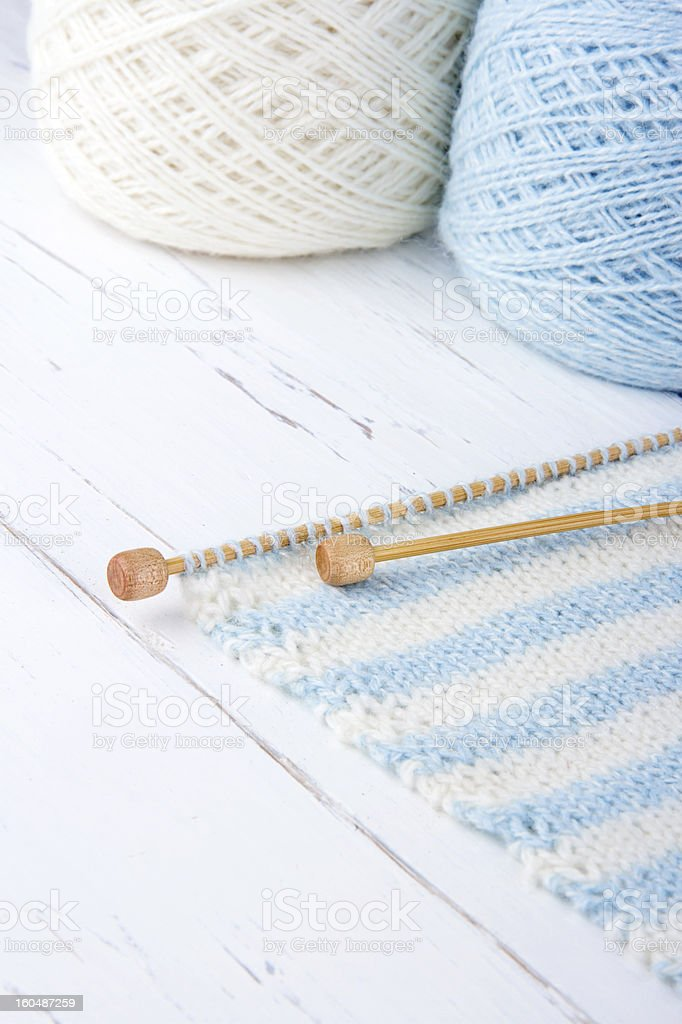 Light blue and white striped knitting royalty-free stock photo