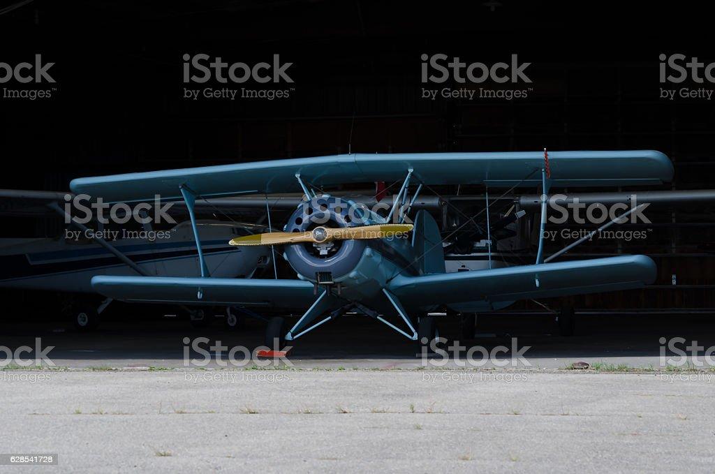 Light Blue Bi-Plane. stock photo