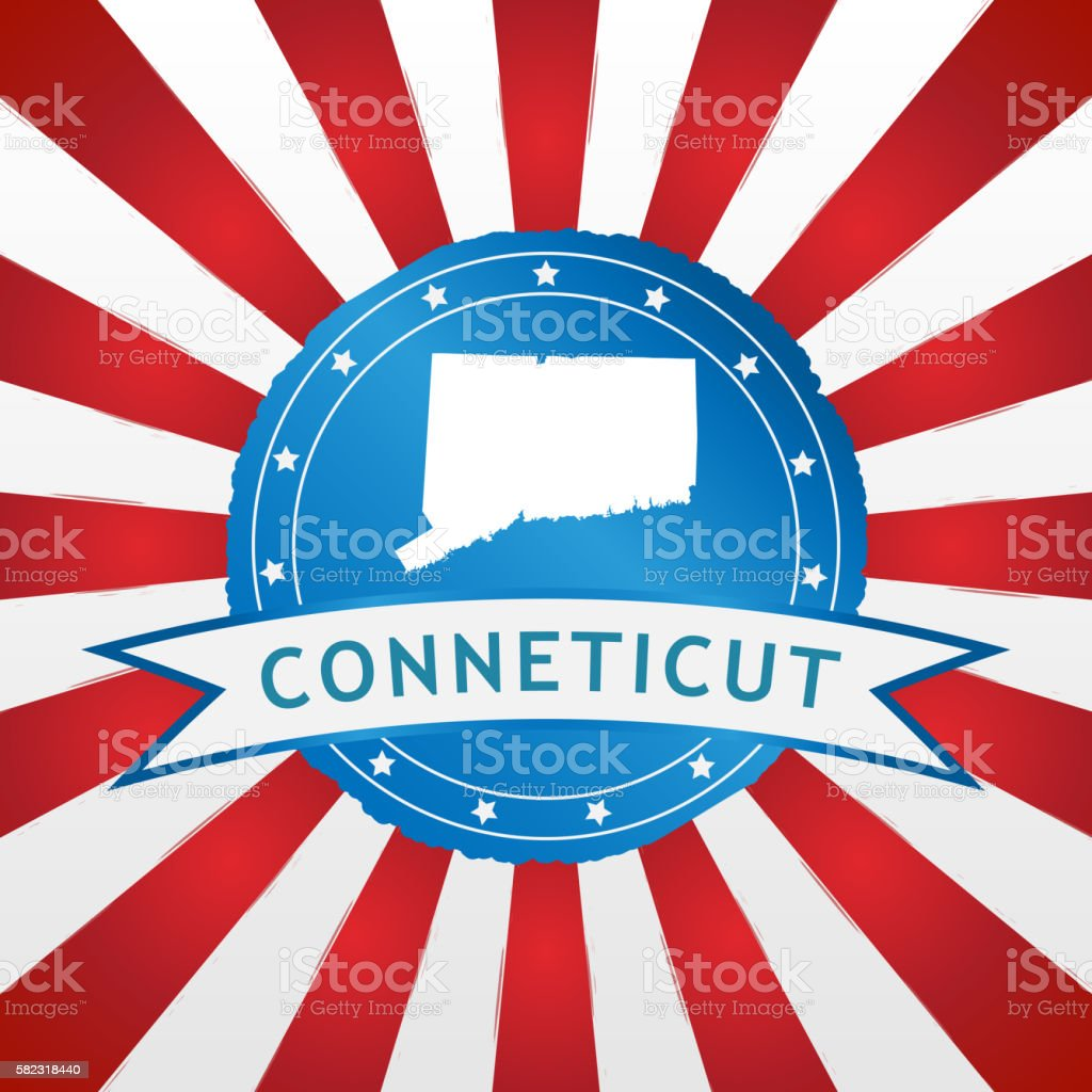 Light blue Conneticut badge on retro red white striped background stock photo