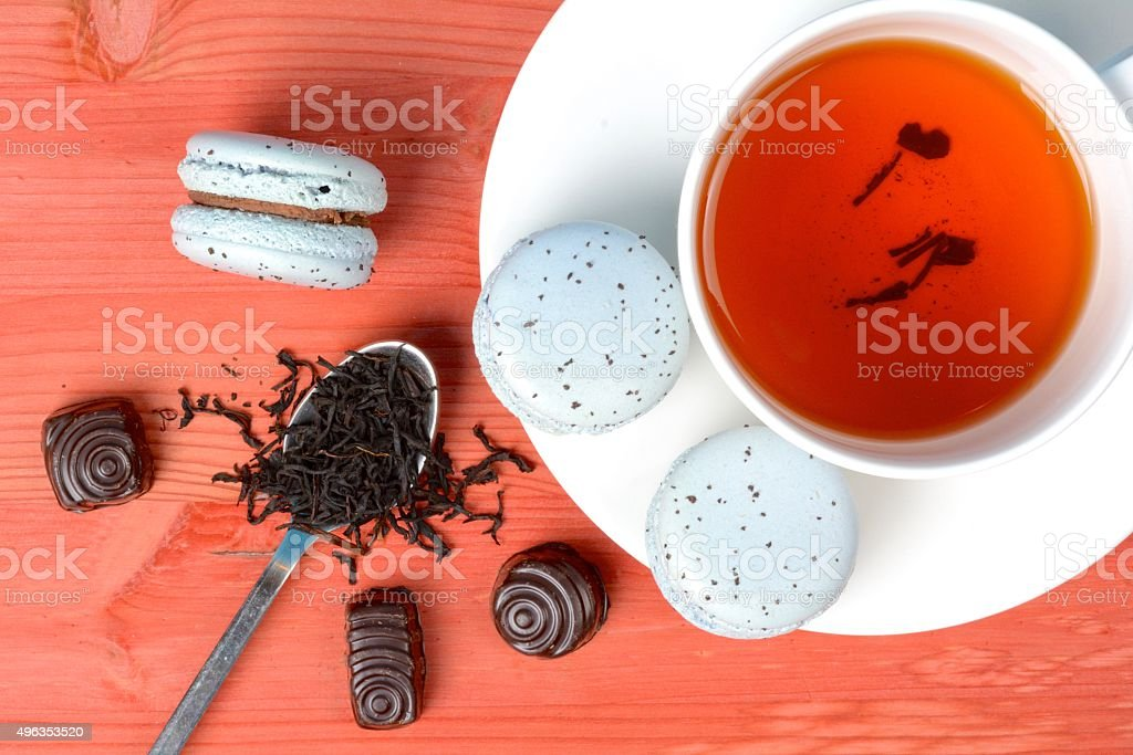 Light blue french macarons with earl gray tea and chocolate royalty-free stock photo