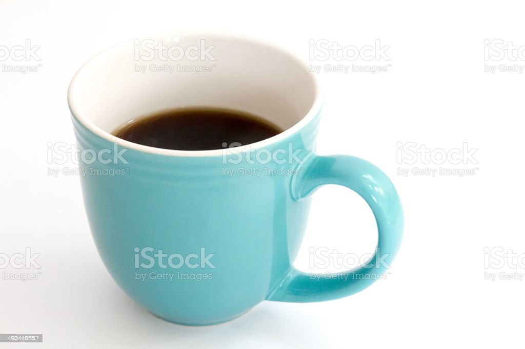 Light blue full coffee mug isolated on white stock photo