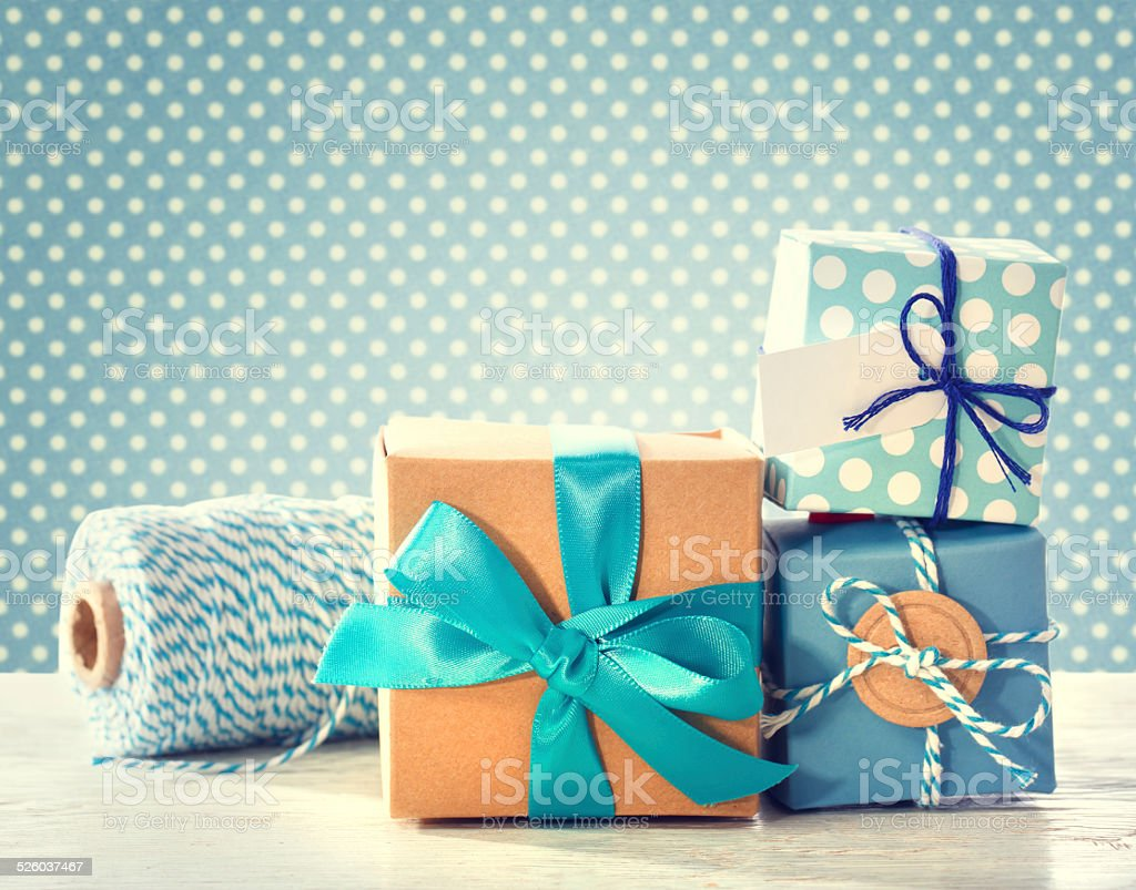 Light blue handmade present boxes stock photo