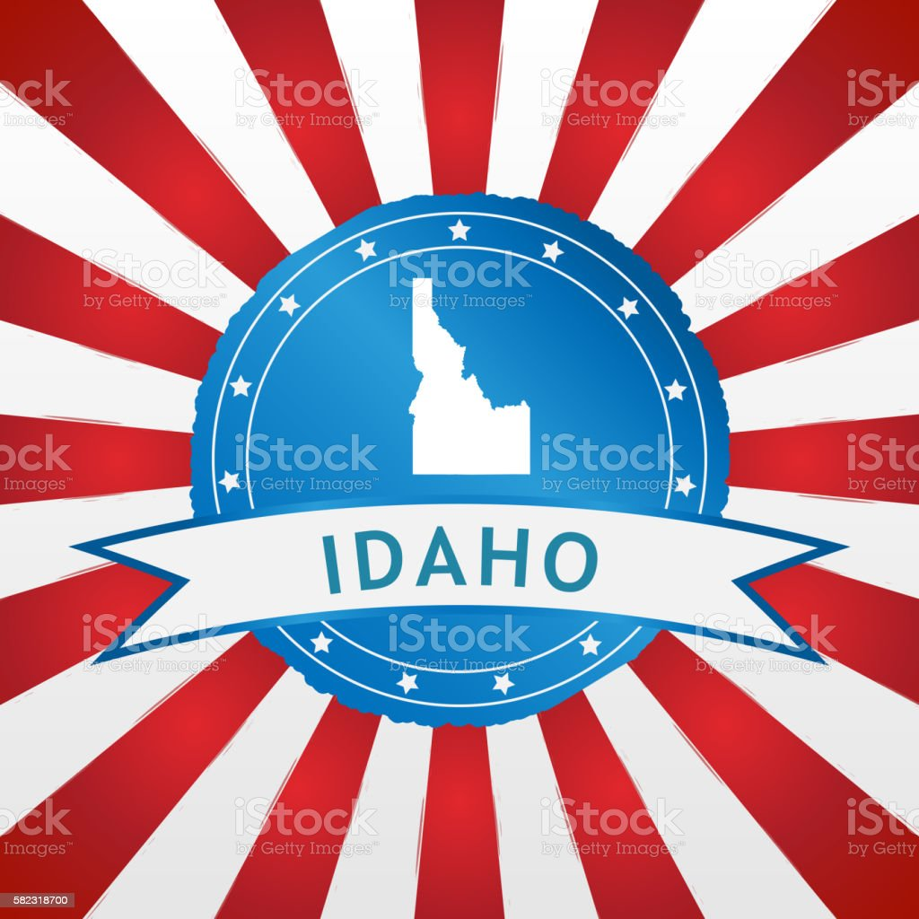 Light blue Idaho badge on retro red white striped background stock photo