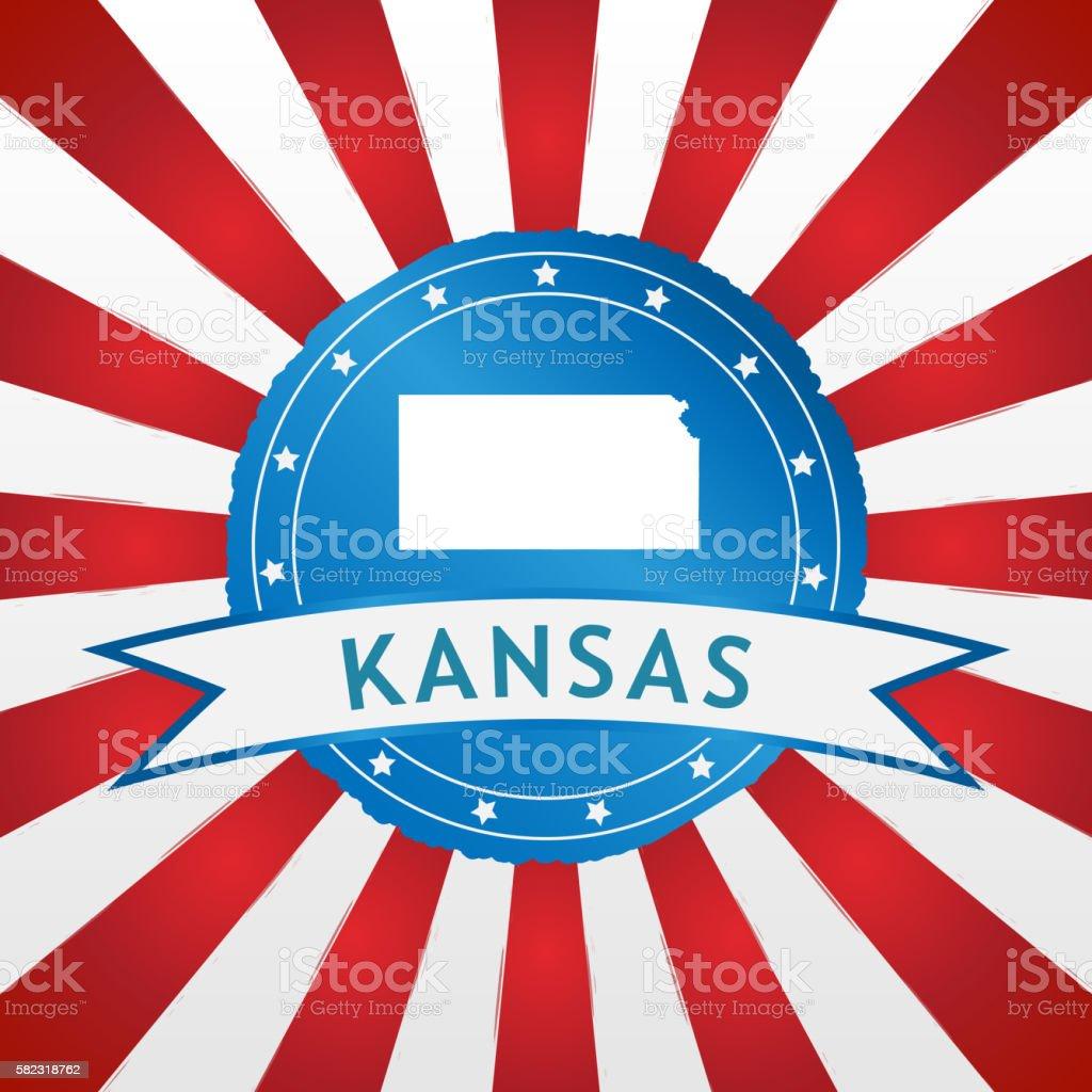 Light blue Kansas badge on retro red white striped background stock photo