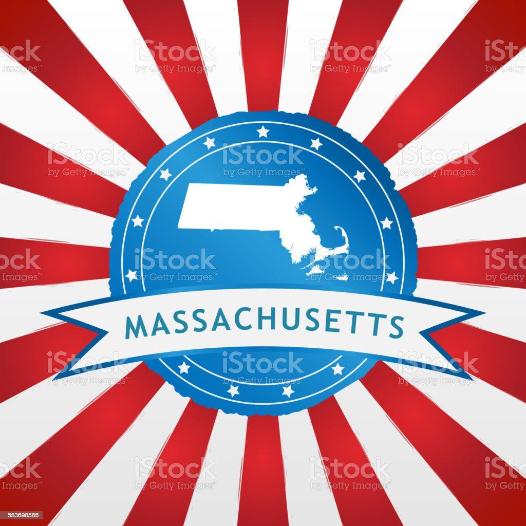 Light blue Massachusetts badge stock photo