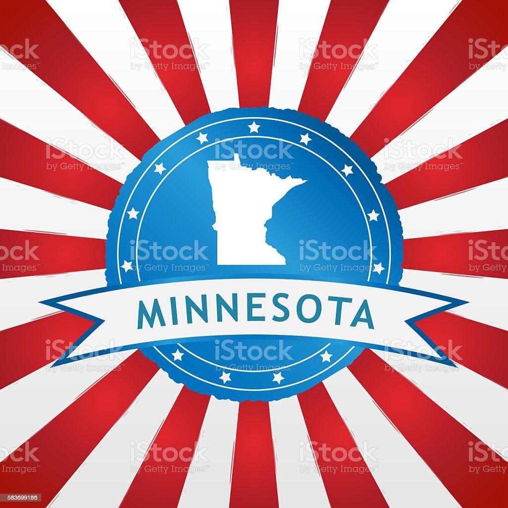 Light blue Minnesota badge on retro red white striped background stock photo