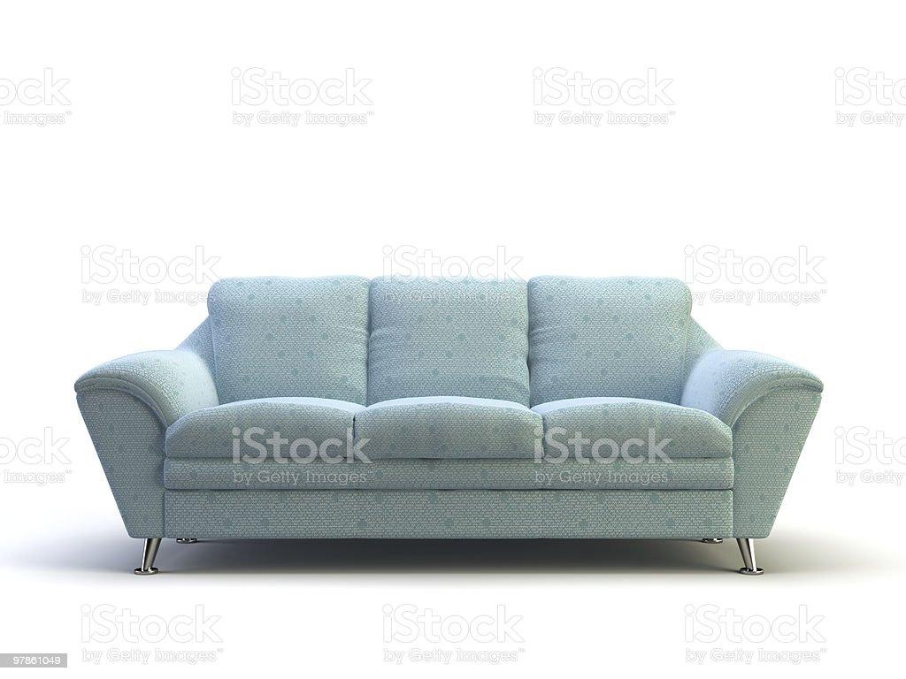 Light blue modern style sofa on white background vector art illustration