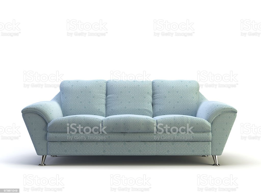 Light blue modern style sofa on white background stock photo