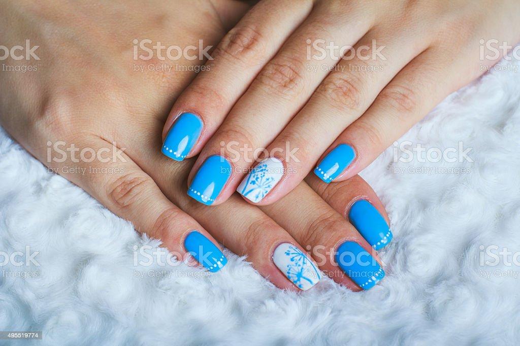 Light blue nail art stock photo