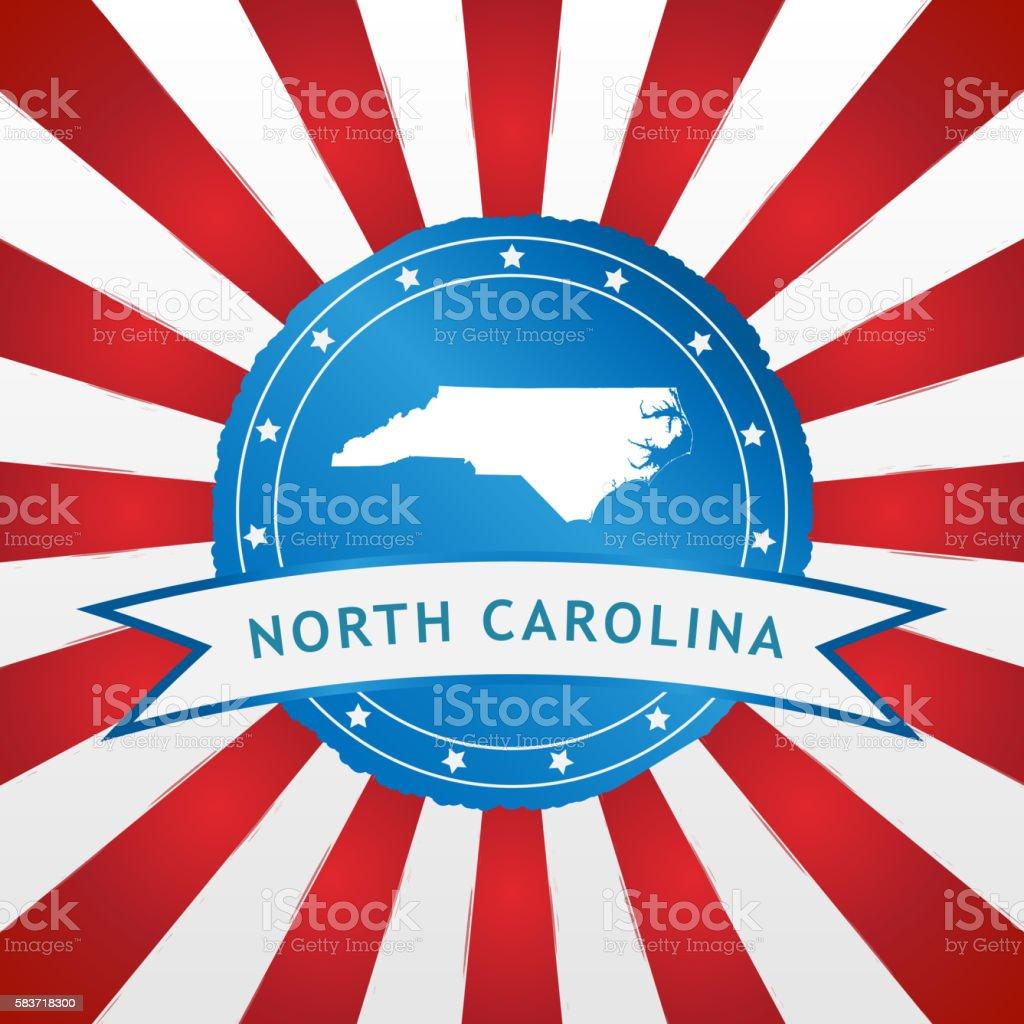 Light blue North Carolina badge retro red white striped background stock photo