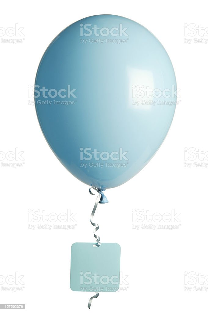 Light blue party balloon with blank tag stock photo
