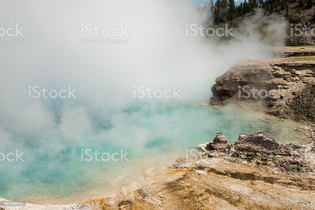 Light blue pool of Excelsior geyser stock photo