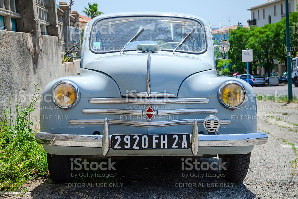 Light blue Renault 4CV old-timer, front view stock photo