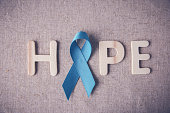 Light blue, sky blue ribbons toning background, Prostate Cancer