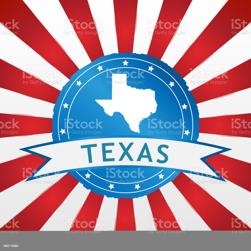 Light blue Texas badge retro red white striped background stock photo