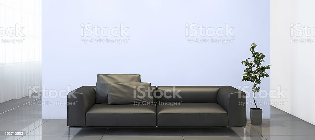 Light blue wall with a modern setup royalty-free stock photo