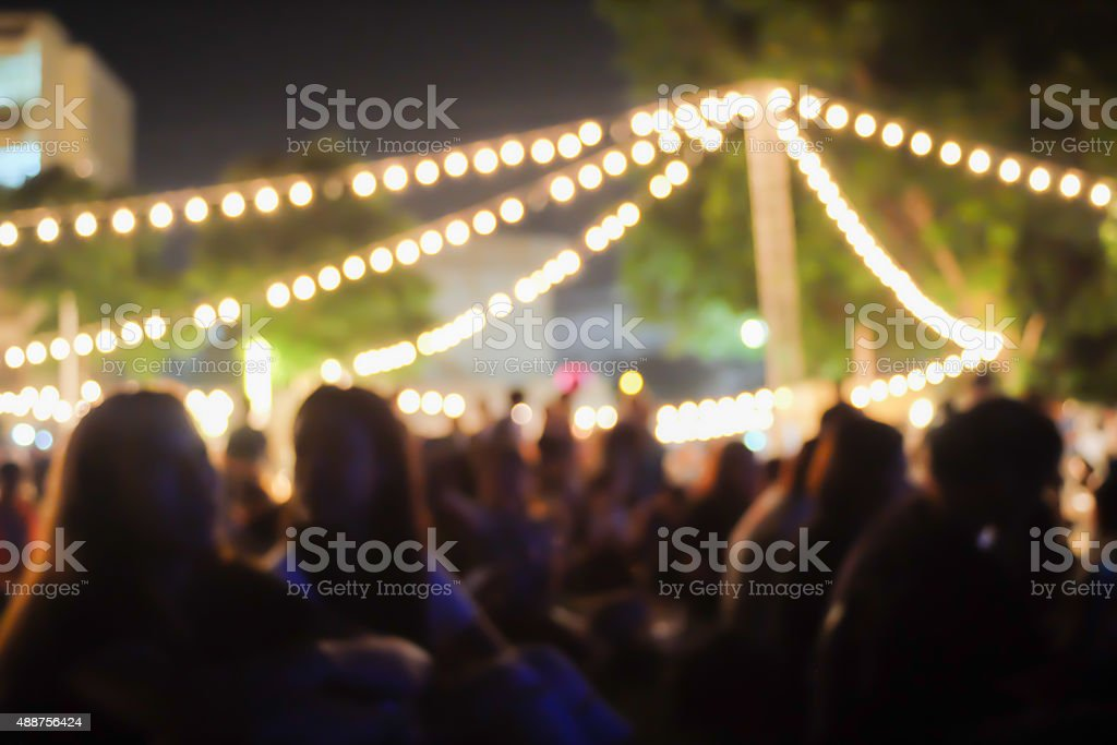 light bokeh of an outdoor concert stock photo