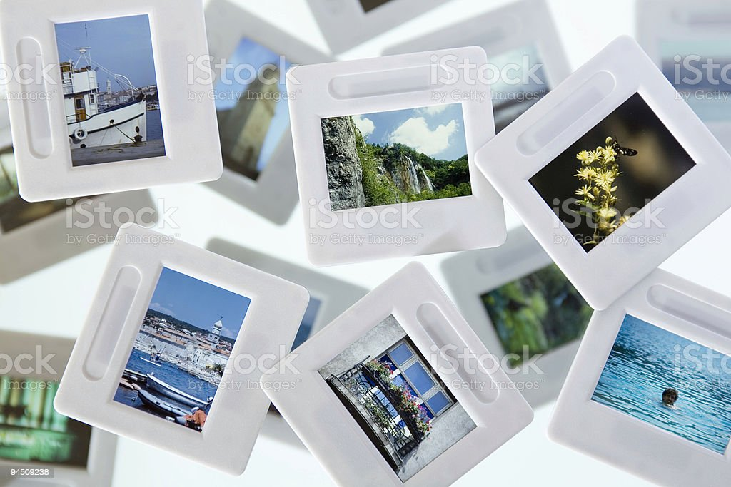 Light box with vacation slides stock photo