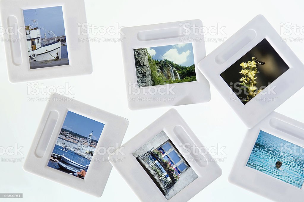 Light box with vacation slides royalty-free stock photo