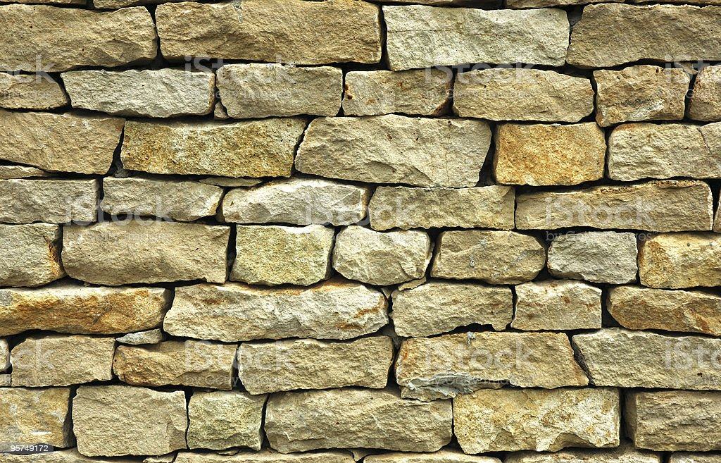 Light brick wall with various and different-shaped bricks royalty-free stock photo
